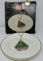1985 Noel Tidbit Tray Porcelain The House of Salem Christmas Tree & Gifts