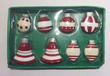 Set of 8 Red & White Christmas Ornament-Shaped Magnets, by Kurt Adler