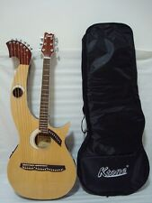 Harp Guitar, Acoustic Electric Double Neck Guitar with Padded Gig Bag Brand New