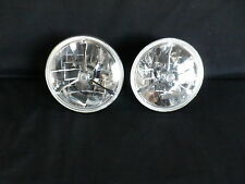 HEADLIGHTS SET OF 2 - 7 INCH TRI BAR CRYSTAL CLEAR DOT + H4 GLOBES NO INDICATOR