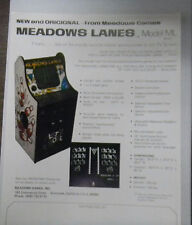 Vintage Arcade game sheet Meadow Lanes ML 1977,8x10 advertising specs sheet
