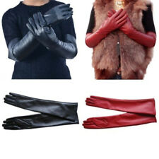 Womens Long Gloves Elbow Length Winter Leather Evening Party Full Finger Mittens