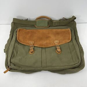 EDDIE BAUER Friday Harbor GARMENT BAG Green Canvas Leather Luggage Vintage