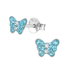 925 Sterling Silver Crystal Aqua Blue Butterfly Kids Girls Women Stud Earrings