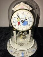 Disney Parks Porcelain Cinderella Glass Dome Working Clock Excellent Condition