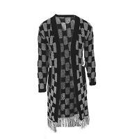 Womens Black Grey Check Long Knitted Jacket Cardigan New Ladies *LICK*
