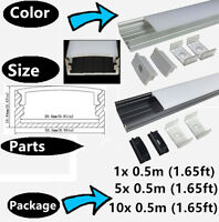 1/5/10-pack 0.5 Meter Aluminium Channel Profile for LED Strip Light with Covers