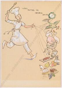 "Gret Kalous-Scheffer (1892-1975) ""New Year Postcard Project"", Watercolor, 1930s"