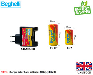 Beghelli High-power 3V Charger Cr2 /Cr123chargeable (500+Times) Li-Ion Battery