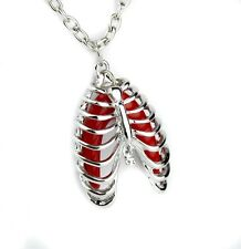 Skeleton Rib Cage Pendant Necklace Punk Rock Gothic Horror Cosplay Altearnative
