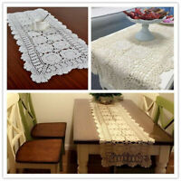 Vintage Handmade Crochet Lace Table Runner Mats Doily Wedding Party Dining Decor