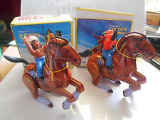 jouet tole  tin toy cowboy of horse  and  indian  MTU MIB neuf boite