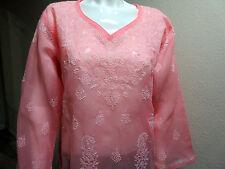 NUEVO India CHIKAN Lucknow 100% COTTON Mujer Rosa Blanco Blusa para mujer
