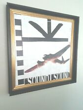 "Window Box style Wood Framed Lithograph on fabric- ""Sound-Sound"". Read On!"