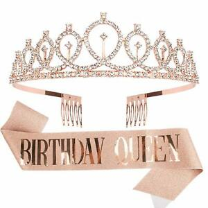 Tiara for Women Birthday Queen Crowns with Birthday Girl Sash,  Rose Gold