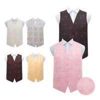 DQT New Jacquard Passion Floral Page Boy Vest Wedding Fashion Boy/'s Waistcoat