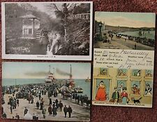 1909 Collection of 3 Isle of Man Postcard IoM Victoria Pier Groudle Glen Douglas