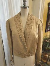 Antique 1800's Raw Silk Victorian Jacket Frog Closure Piping Natural~ Ecru Color