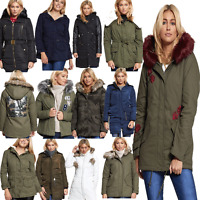 DIVADAMES Ladies Brave Soul Winter Coat Hooded Parka Padded Womens Quilted Jacke