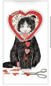 Flour Sack Kitchen Dish Towel Valentine Cat Mary Lake - Thompson New