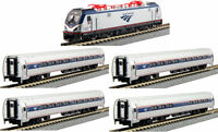 Kato N 106-8001 Amtrak Phase VI ACS-64 Loco & Four Amfleet I Car Set In Bookcase