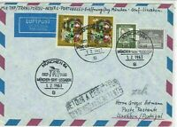 Germany 1963 Airmail Munchen First Flight Special Cancel Stamps Cover ref 22731
