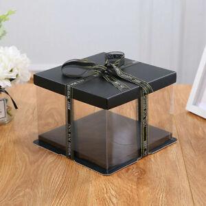 Clear PVC Rose Bear Flower Birthday Cake DIY Gift Box Holder Wedding Party Favor