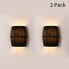 2 Packs Wall Lamp Wood Wine Barrel Wall Lights Fixtures Sconce Up Down Lighting