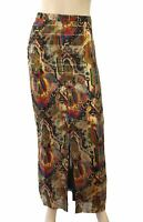 VINTAGE Embellished Red Gold Black Silk Column Maxi Skirt S