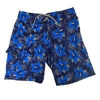 NO FEAR SWIM TRUNKS Hawaiian Floral Blue Side Pocket Sz 36
