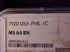 PHILIPPINES ONE CENTAVO 1920 NGC MS 64 BN