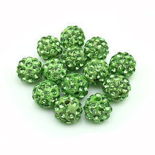 20Pcs/Lot Green Micro Pave Disco Crystal Shamballa Beads Bracelet Spacer 10mm