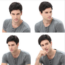 Men Short Straight Wigs Inclined Bangs Natural Black Synthetic Toupee Hairpiece