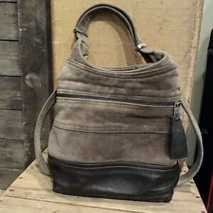 Mims Brown Velvet & Leather Backpack Purse Convertible Hobo Bag Rough Tumble
