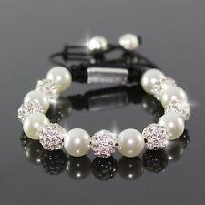 Damen Weiß Perlen/Zirkon Shamballa Armband Armreif Armschmuck für Frauen