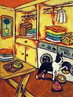 boston terrier in the laundry room  art print dog artwork 8.5x11