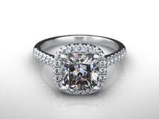 2.25 CT CUSHION CUT D/VS2  DIAMOND  HALO ENGAGEMENT RING 14K WHITE GOLD