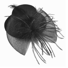 Black Mesh Bowknot Feather Decor Mini Top Hat Alligator Hair Clip LW