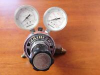 Matheson 8L 350 Brass Pressure Regulator with 30 and 3000 PSI Gauges