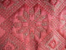 2.80yds SILK FACE MATELASSE BRIGHT PINK W/ SILVER WHT SNOWFLAKES COUTURE FABRIC