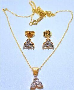 OTC 10kt Yellow Gold & Diamonds Cloverleaf Necklace & Earring Set.