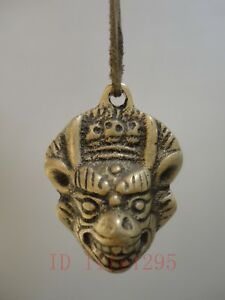 Collection Old China Tibet Bronze Leather Cow Tauren Amulet Pendant Decoration