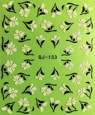 Nail Art 3D Decal Stickers Black & White Flowers QJ133