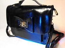 Señoras Noche partido pequeño Bolso de embrague Boda Bolso Clip Broche Bolso Bolsa Negra