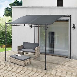 [en.casa] Pavillon Pergola Gartenzelt Terrassendach Sonnenschutz Grau 300x250cm