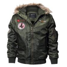Mens Bomber Jacket Winter Warm Fur Hooded Flight Military Air Force Tactical New