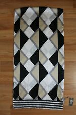 "New Vince Camuto Argyle Striped Oblong 100% Silk Scarf 18""x72"" NWT #VC269"
