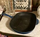 LE CREUSET Blue Cast Iron Grill It Griddle Skillet pan 12.5 inches,  France