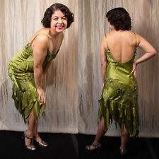 SUE WONG 8 Silk Beaded Embroidered Flapper Green Dance Evening Fairy Dress