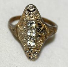 Vintage Art Deco Style 18 KT White Gold Plated w/ 3 White Rhinestones Ring Sz  6